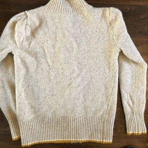 Girls cream and ochre cashmere wool blend cardigan